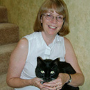 Dr. Rings with her black cat