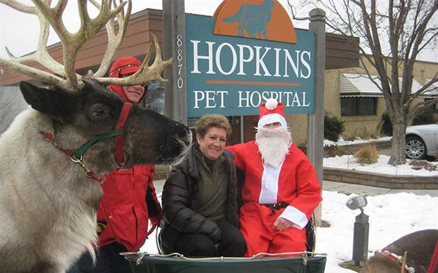 Reindeer and Santa outside of the veterinary hospital