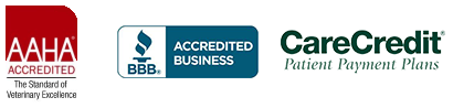 AAHA Accredited, BBB Accredited Business, CareCredit logo