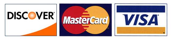 Discover, MasterCard, Visa logos