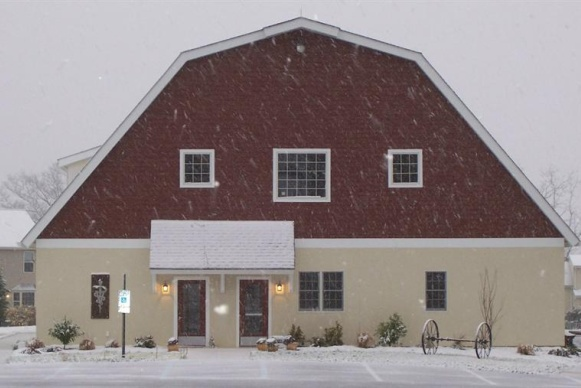 Front of the clinic during a snow storm