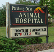 The sign outside of our animal hospital