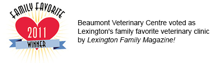 Beaumont Veterinary Centre voted as Lexington's family favorite veterinary clinic by Lexington Family Magazine!