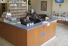 Reception desk in the clinic