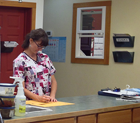 Staff member filling out paperwork