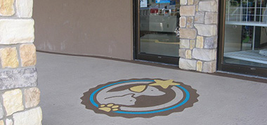Logo in the cement outside of the hospital