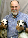 Dr. Rubin with two Whippets