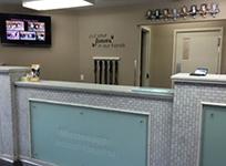 Reception desk inside the clinic