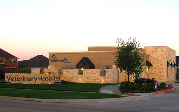 The outside of our veterinary hospital in Plano, TX