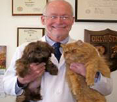 Veterinarian with two cats