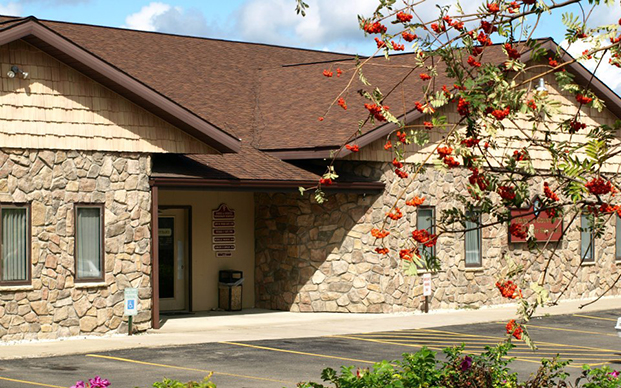The outside of our veterinary hospital in Corning, NY