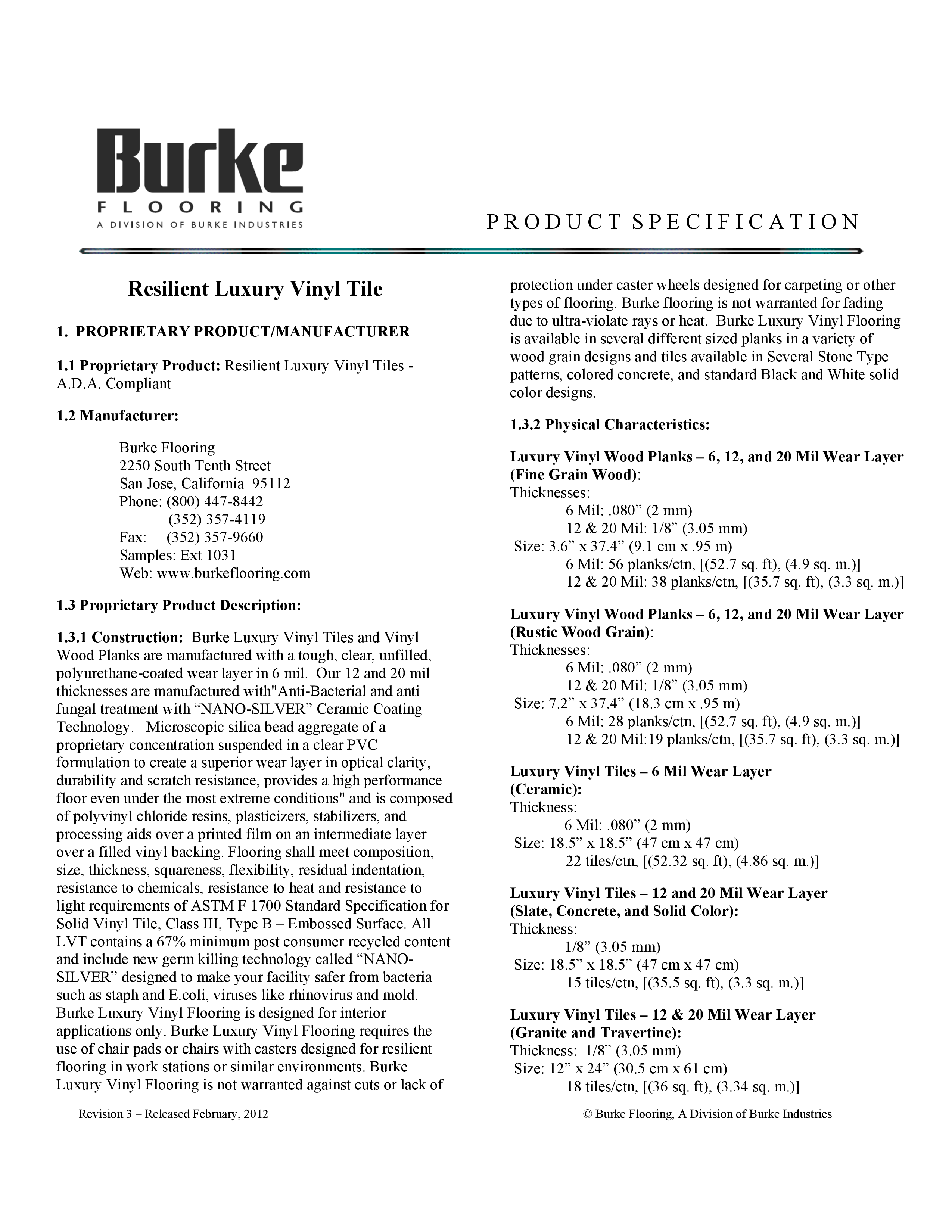 Specifications 12 20 Mil Lvt Flooring Product Burke Flooring