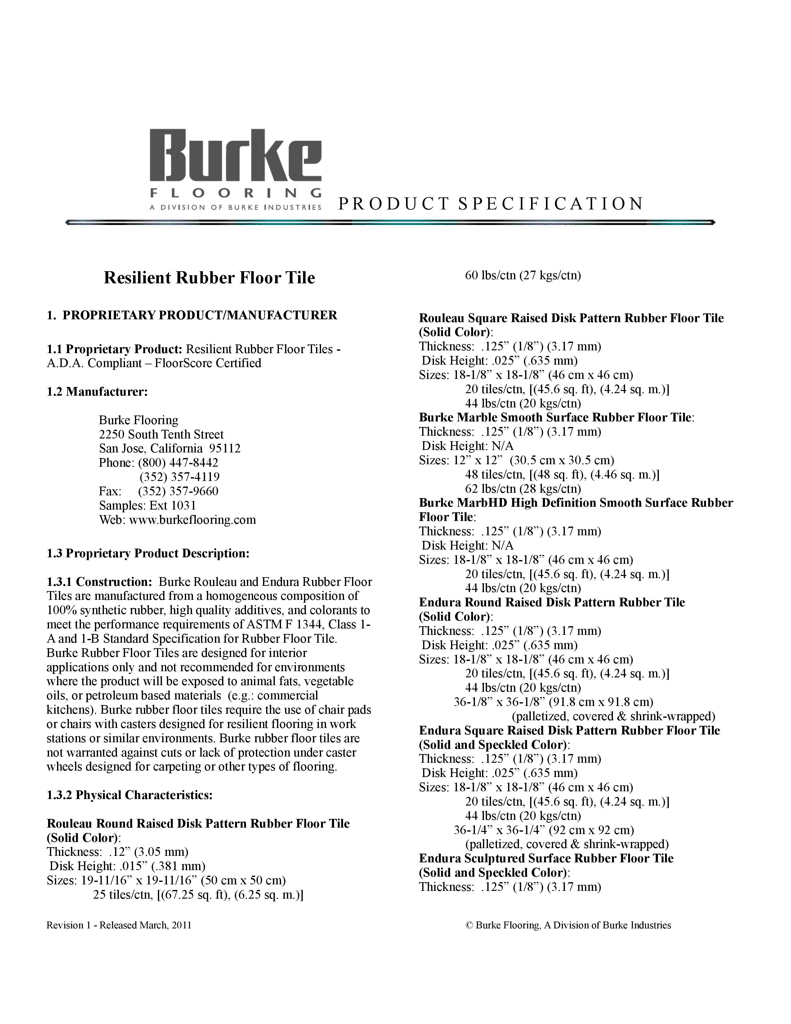 Specifications Endura Flecksibles Rubber Tile Flooring