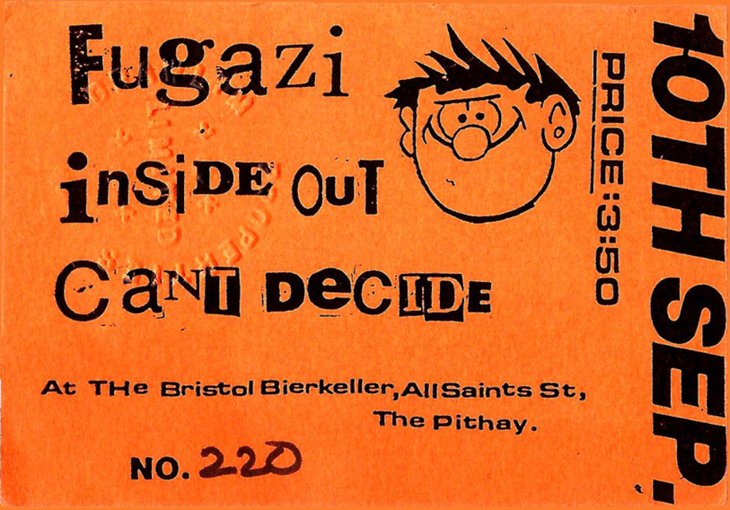 Fugazi ticket - september 10th 1990 bristol uk