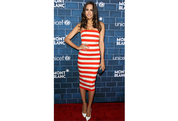 Louise roes robert rodriguez graphic stripe strapless dress