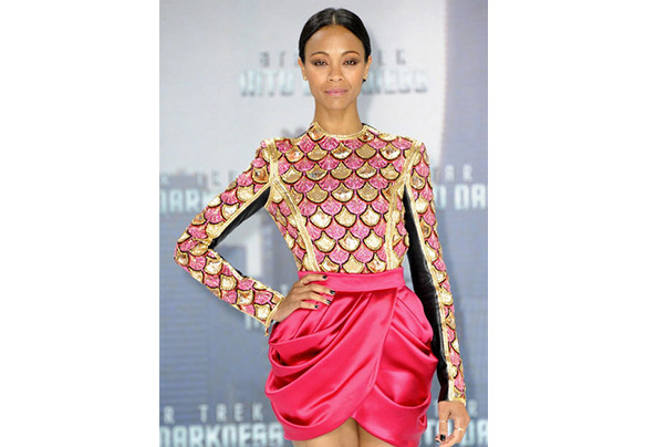 Zoe saldana star trek into darkness german premiere balmain pre fall 2013 sequin embellished leather back top fuchsia gathered mini skirt christian louboutin pigaresille pumps 3 grande