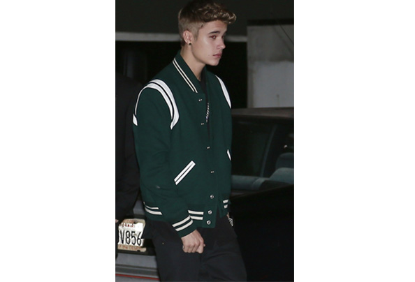 Justin bieber and yves saint laurent leather trimmed wool blend varsity jacket gallery