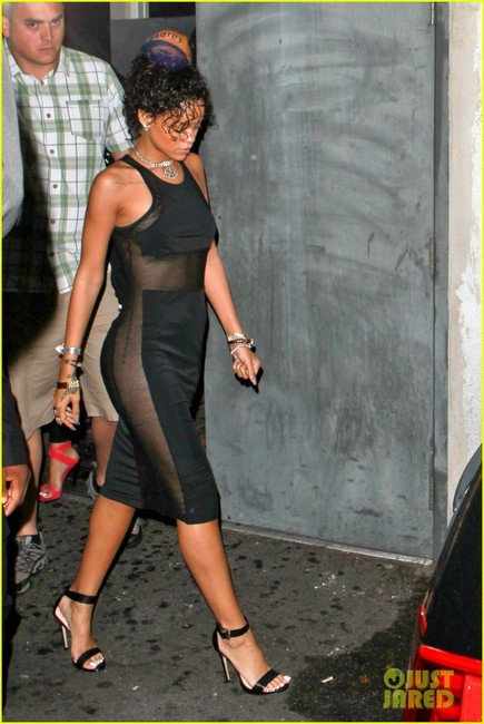 Rihanna and t by alexander wang mesh combo midi tank dress gallery