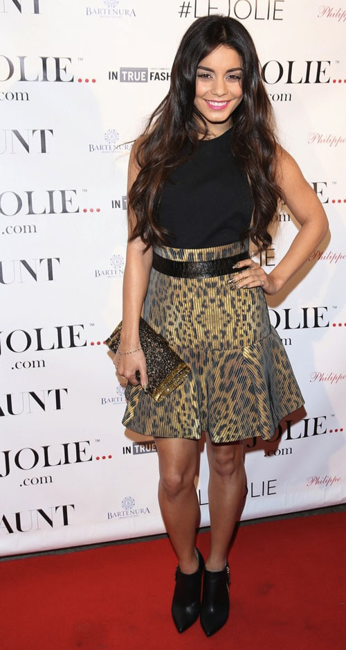 Vanessa hudgens le jolie launch party camilla and marc leopard print dress