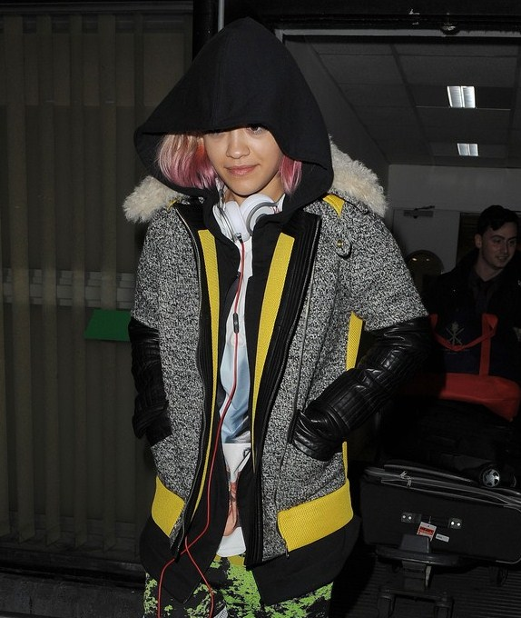 Rita ora heathrow airport rebecca minkoff venus jacket 1
