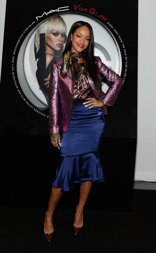 Rihanna mac cosmetics launch viva glam rihanna lanvin spring 2014 look