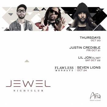 We're excited about this weekend's lineup featuring @justin_credible, #LilJon, and @sevenlionsmusic for #FlawlessMondays! Tickets: bit.ly/jewel-1021