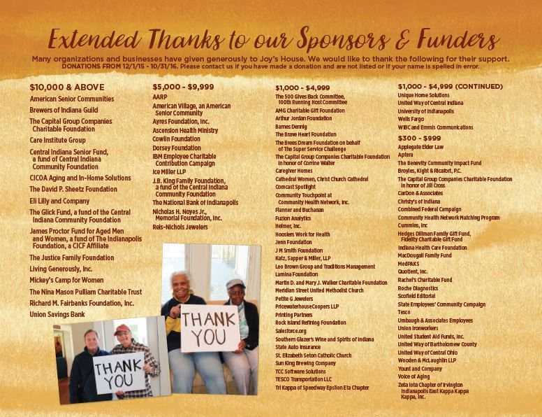 Sponsors and Funders 12/1/2015 through 10/31/2016