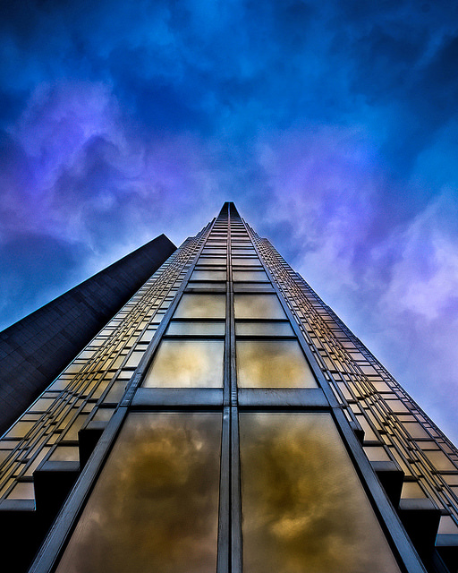 a perspective shot of a building in Toronto stretching into the sky