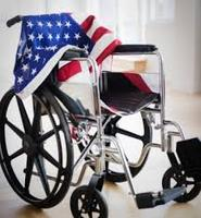 American Flag on Wheelchair Honoring Veterans