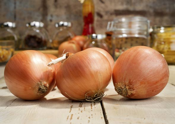 Onions on a table