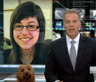 Storm the weather dog interrupts a Global News broadcast.