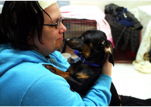 Woman and dog at shelter during superstorm Sandy