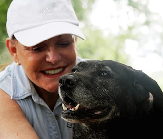 Lady gets some love from her new owner, heiress and author Helen Rich.