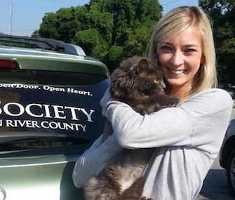 Ashley Moore was reunited with her cat Ava, who was found 500 miles from home.