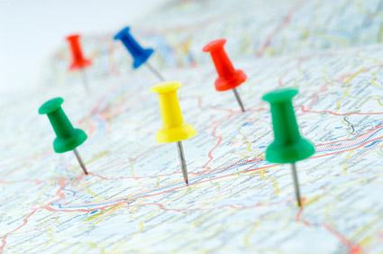 Colored thumbtacks in map