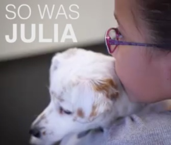 Julia, 10, who's deaf, quickly bonded with a deaf shelter puppy.