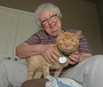 Ranger, who's blind and has feline leukemia, sits with Janet Bushey at their Texas home.