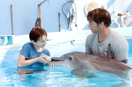 Nathan Gamble as Sawyer Nelson and Harry Connick Jr. as Dr. Clay Haskett with Winter