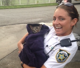 """Deputy Amanda """"Brooke"""" Talbot saved the life of a cat after a blaze in its home."""