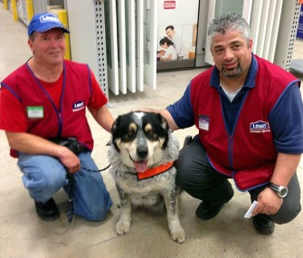 Lowe's Canada hired Owen Lima and his 10-year-old service dog, Blue.