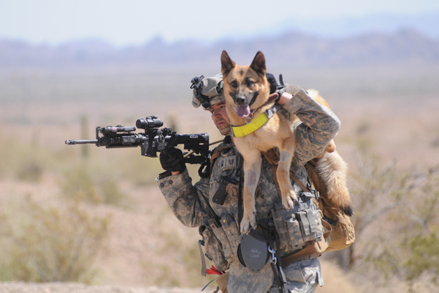 Air Force Technical Sergeant Adam Miller carries his dog, Tina M111, to safety