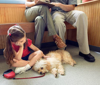 Girl and family at vet