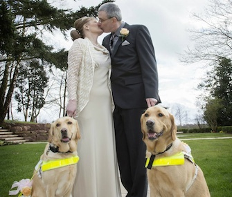Guide dogs Venice and Rodd were ring bearers in the wedding of their owners, Claire Johnson and Mark Gaffey.