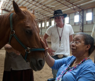 A study finds that adults with Alzheimer's can benefit from interacting with horses.