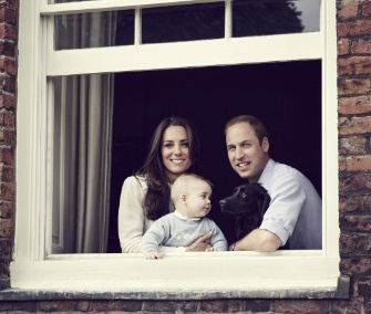 A new family photo features Prince William, Duchess Kate, Prince George and the family dog, Lupo, at Kensington Palace.
