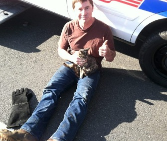 Police in New Jersey shut down a stretch of highway to save a frightened cat.