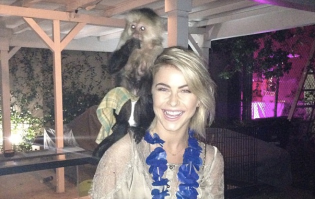 Actress Julianne Hough with a Capuchin monkey