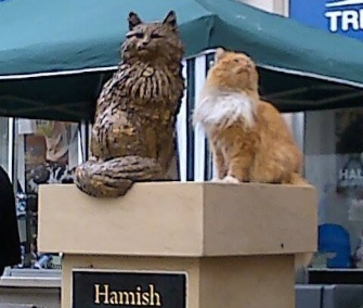Hamish McHamish gets a closer look at his statue in St. Andrews in Scotland.