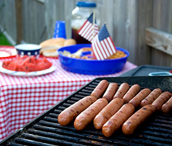 fourth of july celebration with grill and food