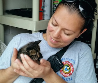 Firefighter Valerie Ligi adopted the 4-week-old kitten she saved from the fence post where he was trapped.